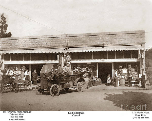 Photograph - Leidig Brothers Market Carmel Circa 1916 by California Views Archives Mr Pat Hathaway Archives