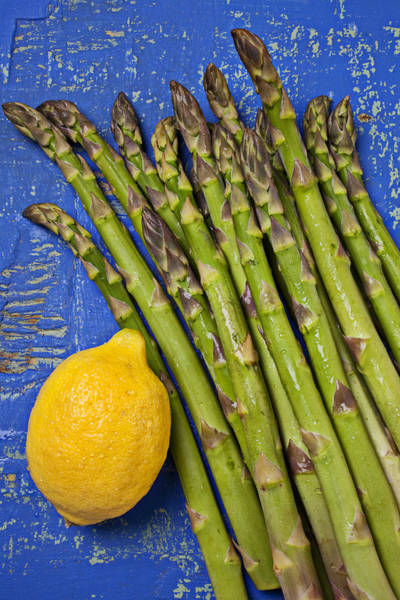Citrus Fruit Photograph - Lemon And Asparagus  by Garry Gay