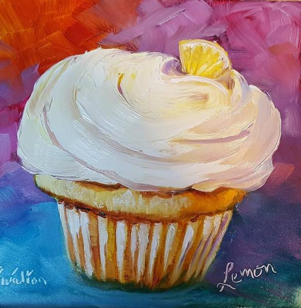 Painting - Lemon Cupcake by Judy Fischer Walton