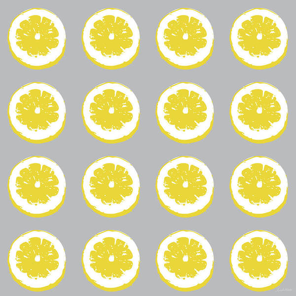 Wall Art - Mixed Media - Lemon Slices On Grey- Art By Linda Woods by Linda Woods