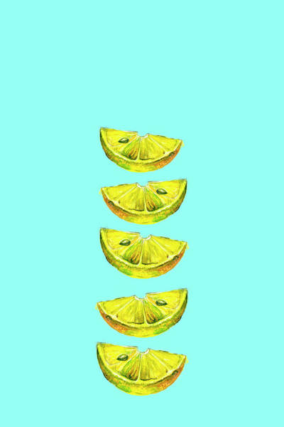 Painting - Lemon Slices Turquoise by Maria Heyens