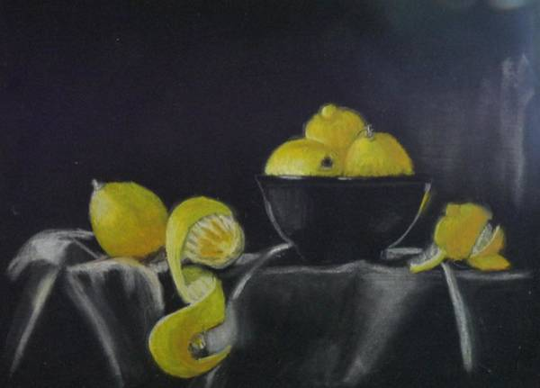 Pastel - Lemon Still Life by Richard Le Page