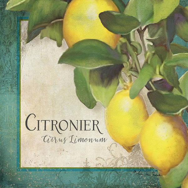 Peacocks Painting - Lemon Tree - Citronier Citrus Limonum by Audrey Jeanne Roberts