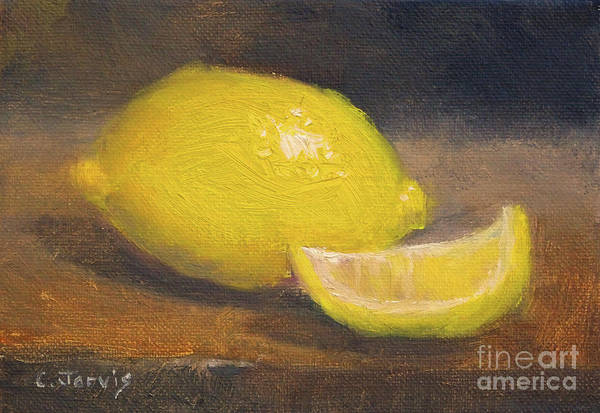 Painting - Lemon With Slice by Carolyn Jarvis