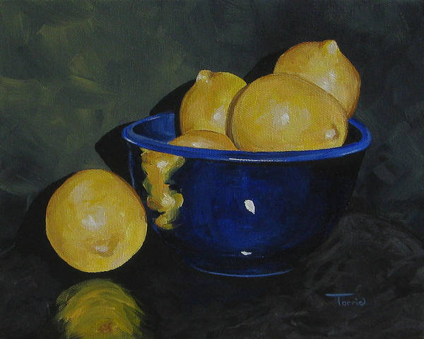 Wall Art - Painting - Lemons And Blue Bowl IIi by Torrie Smiley