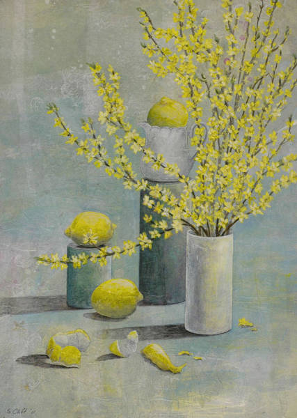 Forsythia Painting - Lemons And Forsythia by Sandy Clift