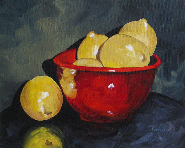 Wall Art - Painting - Lemons And Red Bowl IIi by Torrie Smiley