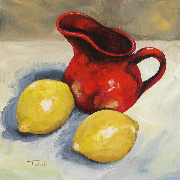 Wall Art - Painting - Lemons And Red Creamer by Torrie Smiley