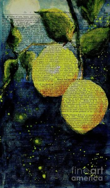 Wall Art - Painting - Lemons Bathed In Moonlight by Maria Hunt