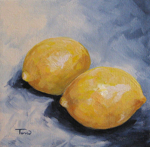 Wall Art - Painting - Lemons On Blue  by Torrie Smiley
