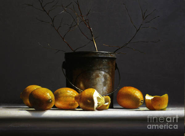 Twig Painting - Lemons With Red Twig Dogwood by Lawrence Preston