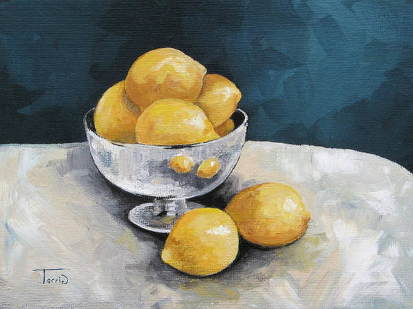 Wall Art - Painting - Lemons With Silver  by Torrie Smiley