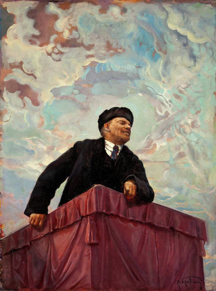 Communist Painting - Lenin On A Rostrum by Isaak Brodsky