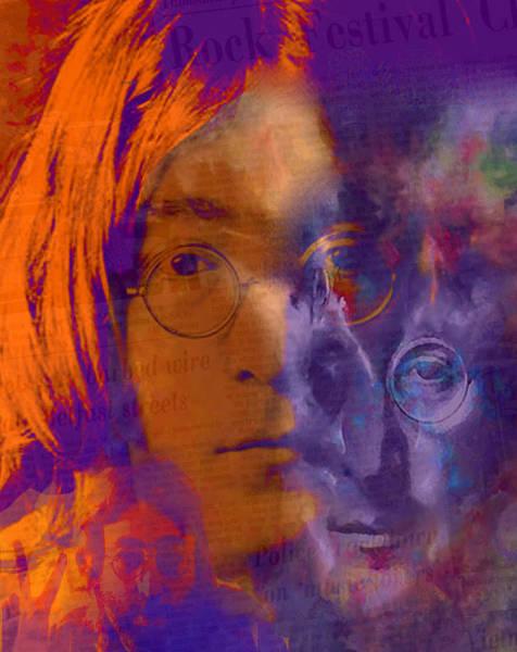 Classic Rock Mixed Media - Lennon Scape - John Lennon Pop Art by Leah Devora