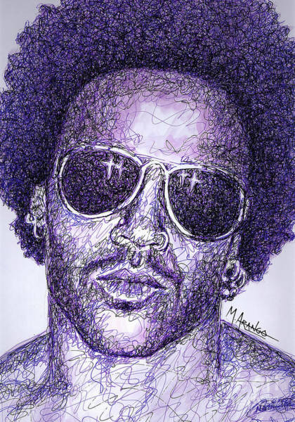 Rock Music Drawing - Lenny Kravitz by Maria Arango