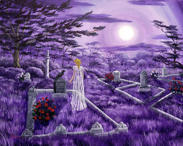 Red Moon Painting - Lenore In Lavender Moonlight by Laura Iverson