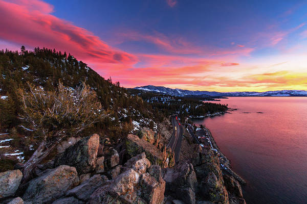 Lightroom Photograph - Lenticular Sunset View Atop Cave Rock by Mike Herron