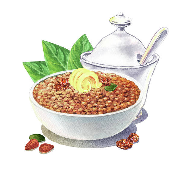 Painting - Lentil Soup Watercolor Food Illustration by Irina Sztukowski