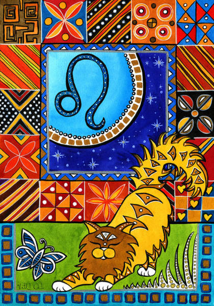 Painting - Leo Cat Zodiac by Dora Hathazi Mendes