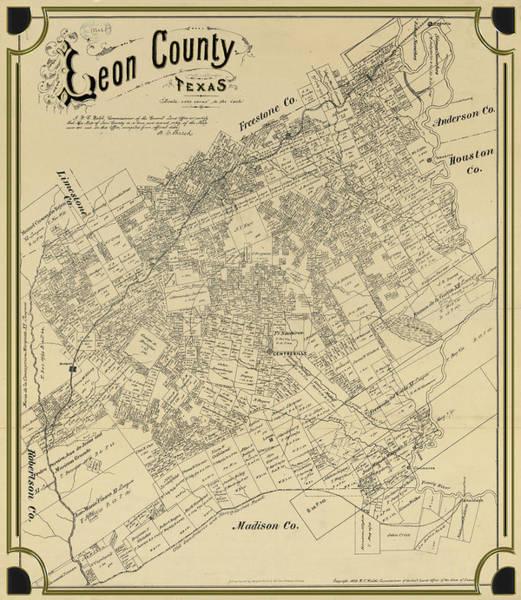 Digital Art - Leon County In Texas Map by Carlos Diaz