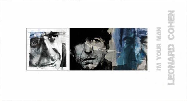 Portraits Mixed Media - Leonard Cohen Triptych by Paul Lovering
