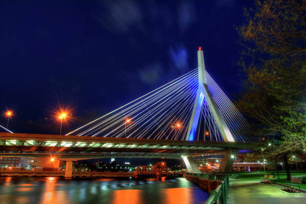 Photograph - Leonard P Zakim Bridge At Night - Boston Cityscape by Joann Vitali