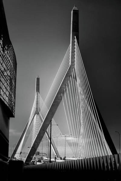 Photograph - Leonard P Zakim Bridge In Black And White by Joann Vitali