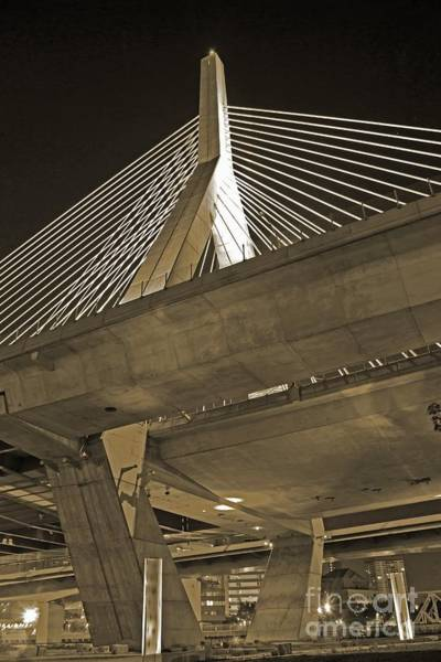 Wall Art - Photograph - Leonard P. Zakim Bunker Hill Bridge In Sepia by Michael Tidwell