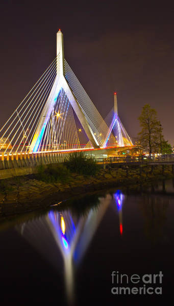 Wall Art - Photograph - Leonard P. Zakim Bunker Hill Bridge Reflection by Michael Tidwell
