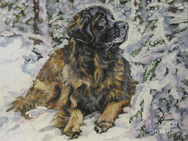 Wall Art - Painting - Leonberger In The Snow by Lee Ann Shepard