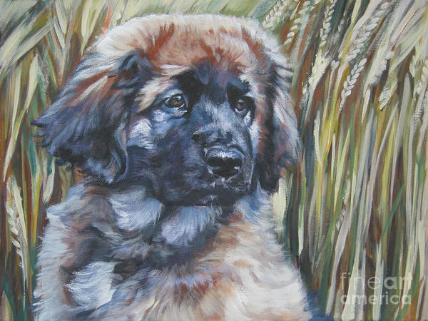 Pup Painting - Leonberger Pup by Lee Ann Shepard