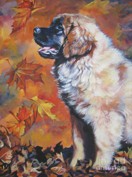 Pup Painting - Leonberger Puppy In Autumn by Lee Ann Shepard