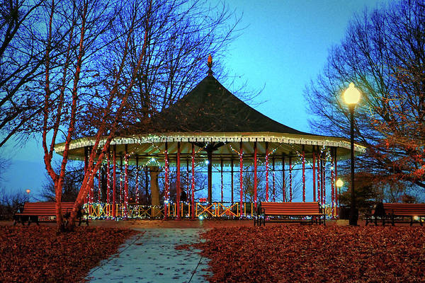 Photograph - Leone Riverside Park Pavilion Christmas Lights by Bill Swartwout Photography