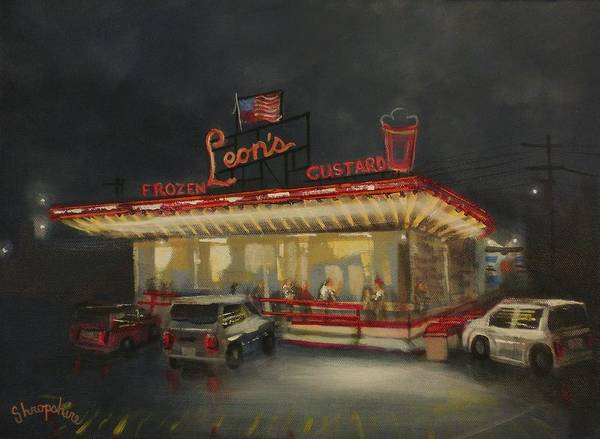 Drive-ins Painting - Leon's Frozen Custard by Tom Shropshire