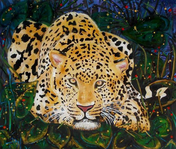 African Tiger Wall Art - Painting - Leopard- Large Work by Angie Wright