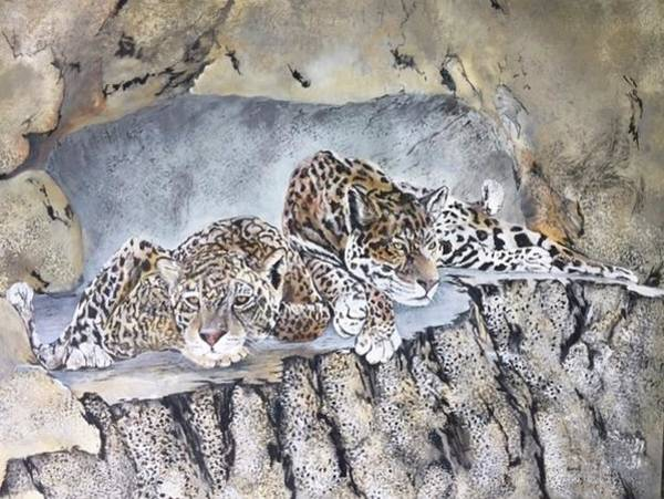 Wall Art - Painting - Leopards Snoozing. by Wm Garcia