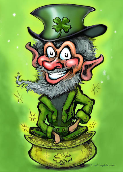 Painting - Leprechaun On Pot Of Gold by Kevin Middleton