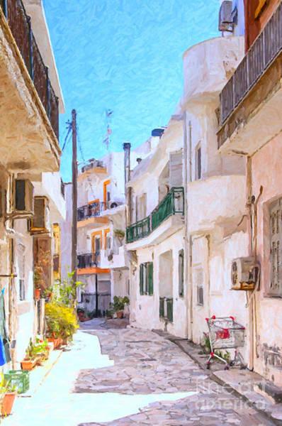 Narrow Street Painting - Lerapetra Street Scene Digital Painting by Antony McAulay