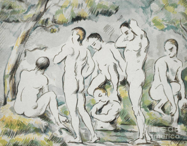 Wall Art - Painting - Les Baigneurs, Petite Planche By Paul Cezanne by Paul Cezanne