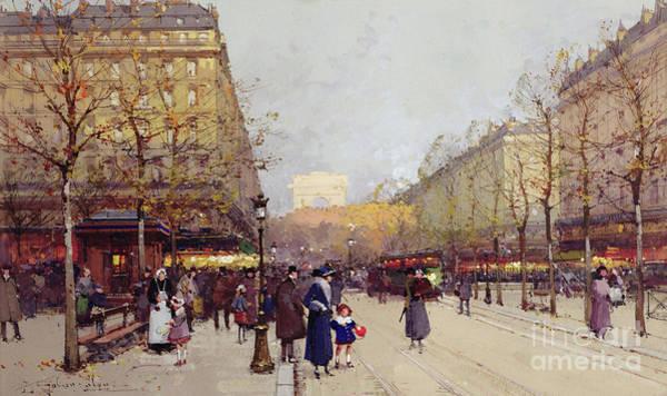 Light Blue Drawing - Les Champs Elysees, Paris by Eugene Galien-Laloue