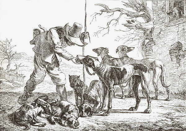 Chien Drawing - Les Chiens By Pieter Van Laer. A Hunter by Vintage Design Pics