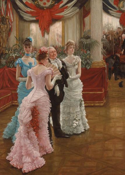 Red Ball Painting - Les Demoiselles De Province by James Jacques Joseph Tissot