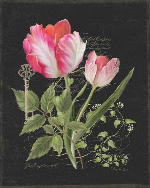 Wall Art - Painting - Les Fleurs Magnifiques En Noir - Parrot Tulips Vintage Style by Audrey Jeanne Roberts