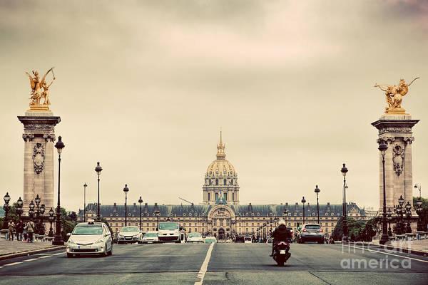 Invalides Photograph - Les Invalides Seen From Pont Alexandre IIi Bridge In Paris, France. Vintage by Michal Bednarek