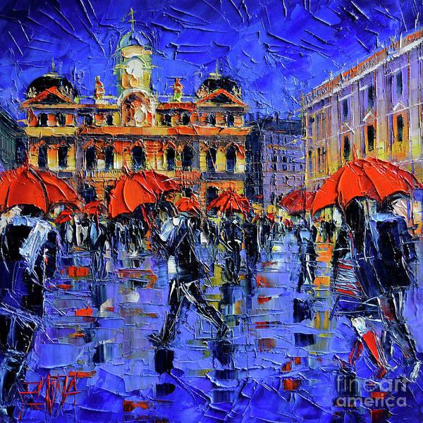Wall Art - Painting - Les Parapluies De Lyon Modern Impressionist Palette Knife Oil Painting by Mona Edulesco