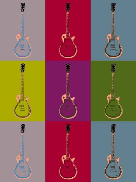Rock And Roll Jimmy Page Wall Art - Digital Art - Les Paul Colorful Poster by Dan Sproul