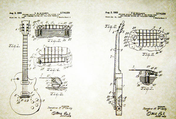 Wall Art - Photograph - Les Paul Guitar Patent 1955 by Bill Cannon