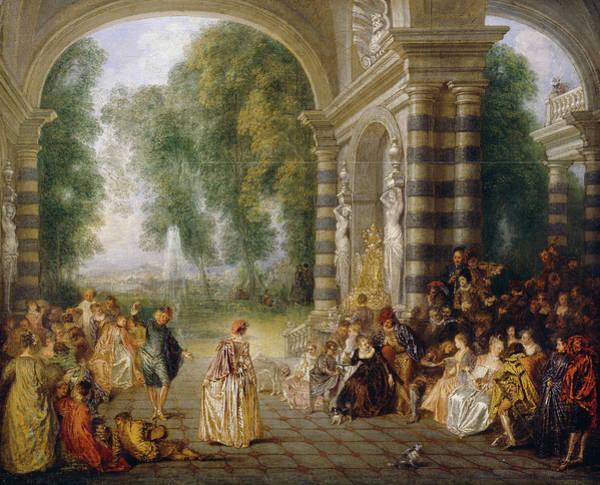 Ballroom Painting - Les Plaisirs Du Bal by Jean-Antoine Watteau