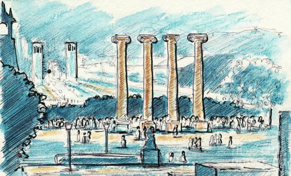 Spanish People Drawing - Les Quatre Columnes Font Magica Barcelona Drawing by Frank Ramspott