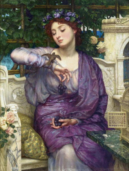 Wall Art - Painting - Lesbia And Her Sparrow 1907 by Edward Poynter